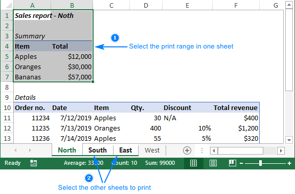 Select a range to print in multiple sheets.