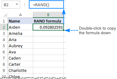 How to randomize a list in Excel: sort randomly cells, rows and columns