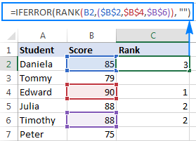 Ranking numbers in non-adjacent cells