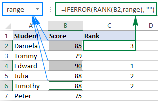 Ranking numbers in non-contiguous cells based on a named range.
