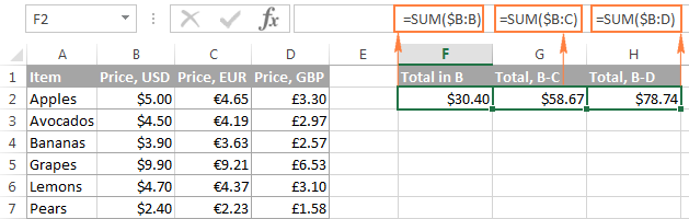 Using a mixed entire-column reference in Excel