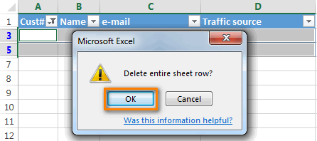 Delete entire sheet row dialog box