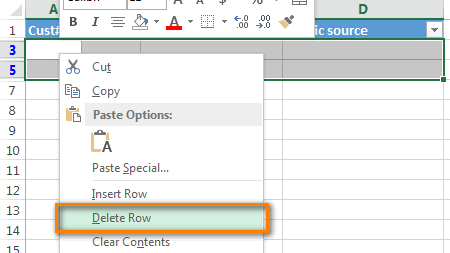 Right-click on any selected cell and choose Delete row