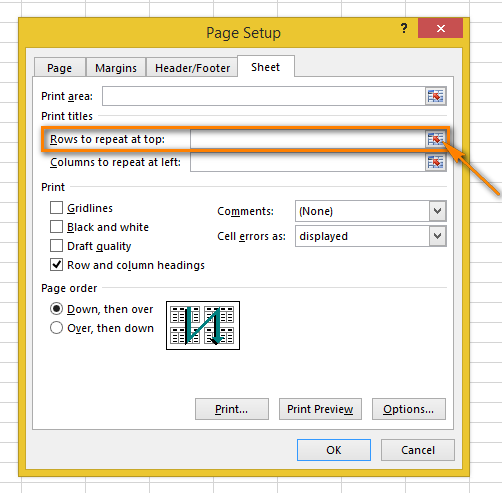 Repeat a header row (column headers) on every printed page