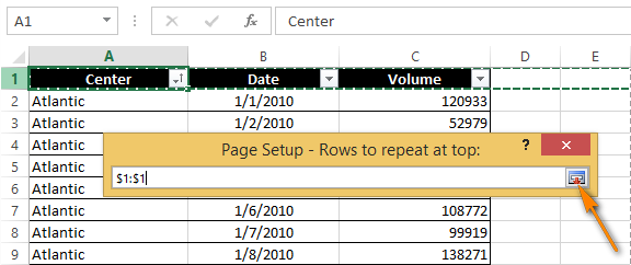 Select rows and click the Collapse button again to return to the Page Setup dialog box