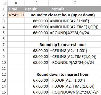 Rounding time to nearest hour in Excel