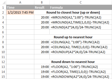 More formulas to round time to the nearest hour