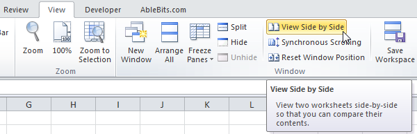 Select this option to view two spreadsheets side by<br /> side