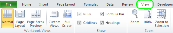 The View tab in Microsoft Excel 2010