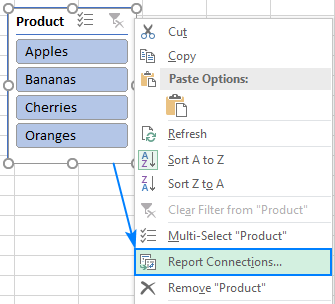 Connecting a slicer to multiple pivot tables