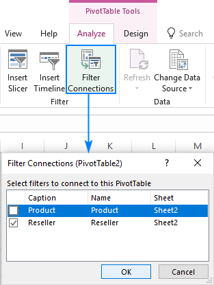 Disconnecting a slicer from a pivot table in Excel