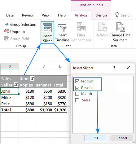 Insert a pivot table slicer in Excel.