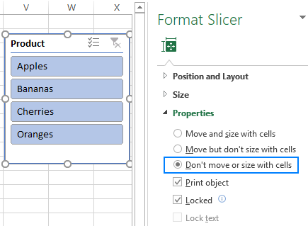 Lock the slicer position in a worksheet.