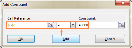 Click the Add button to add the constraint to the list.