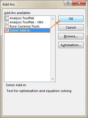 Enable the Solver Add-in.