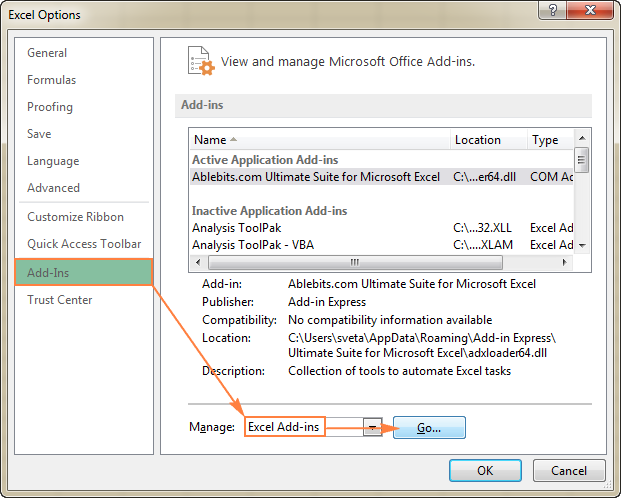 Open the Excel Options dialog to get to the Excel Add-ins list.