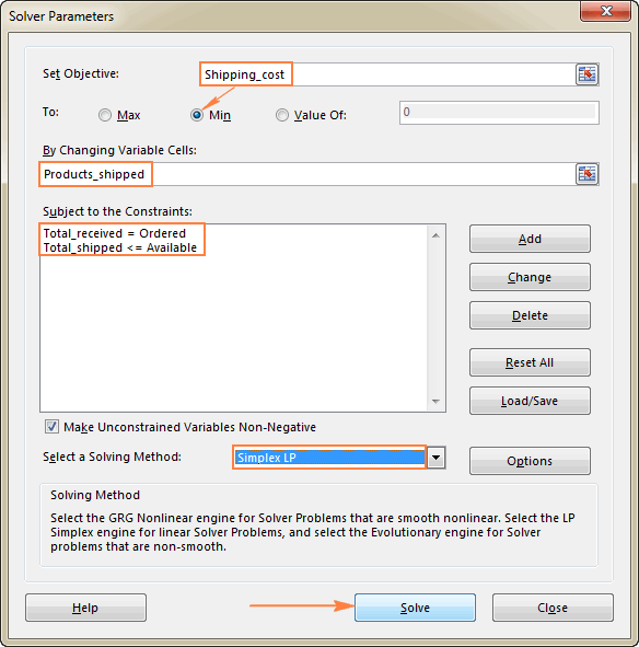 Configure the Excel Solver parameters.
