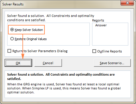 The Solver Results dialog window