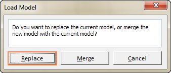 Click Replace to load the saved scenario.