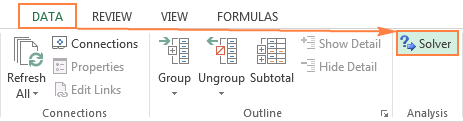 The Solver button in Excel 2016, 2013, 2010 or 2007