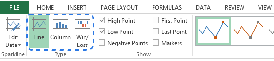 Go to the Type group on the DESIGN tab to change the sparkline type