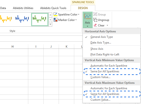 Select Same for All Sparklines in the Axis drop-down menu to customize the vertical axis of maximum and minimum values