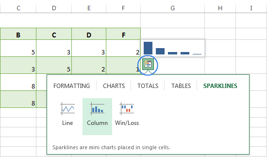 Use the Quick Analysis tool to insert sparklines in Excel