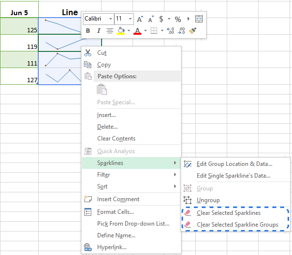 Choose Sparklines -> Clear Selected Sparklines from the right-click menu to remove the chart from the cell