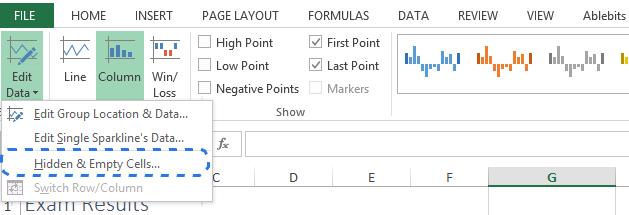 Choose the Hidden & Empty Cells option in the Edit Data drop-down menu to open the dialog