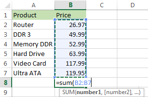 Select the range with the numbers you want to total and press Enter