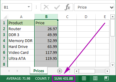 See the sum of the selected cells in the Excel Status bar