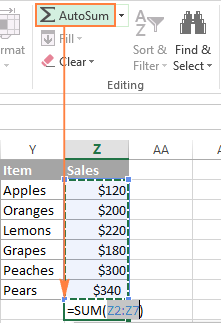 Using AutoSum to sum a column in Excel