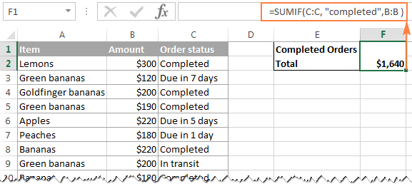 Calculating the conditional sum in Excel