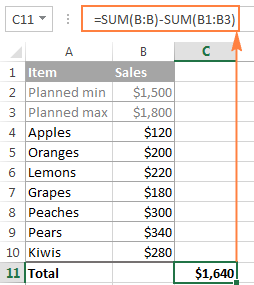Excel Sum formula to total a column, rows or only visible cells