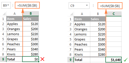 Use a column reference to total an entire column.