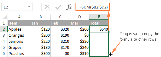 Copy the formula down to sum values in each row.