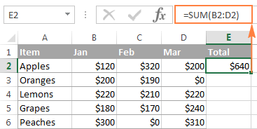 A formula to sum a row in Excel