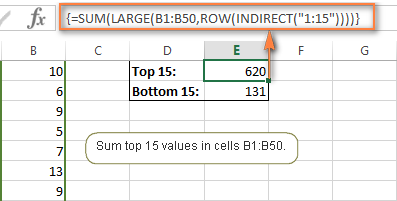 Array formulas to add many top / bottom numbers