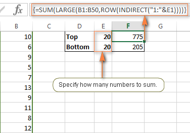 Sum a variable number of largest / smallest values by referencing a cell