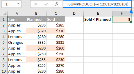 The SUMPRODUCT formula with one criterion to compare arrays.