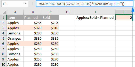 The SUMPRODUCT formula with multiple criteria to compare arrays.