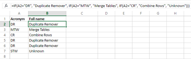 Return full names for acronyms using nested If in Excel
