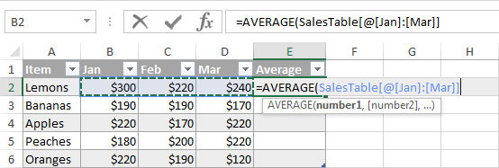 Making a table formula with a structured reference