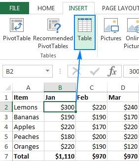 Excel table: how to create, use, format and remove