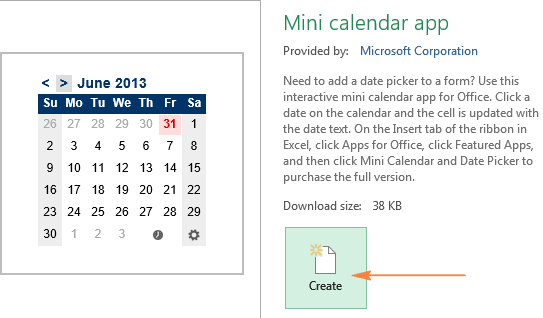 Downloading a calendar template for Excel
