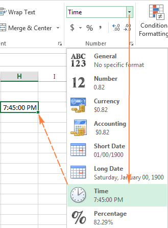 A quick way to apply the default time format in Excel
