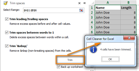 Trim spaces using Cell Cleaner Add-in