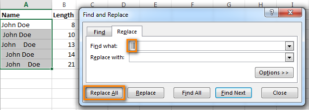 Use Excel Find & Replace to remove extra spaces between words