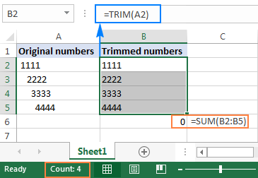 The TRIM function does not remove spaces before numbers correctly.