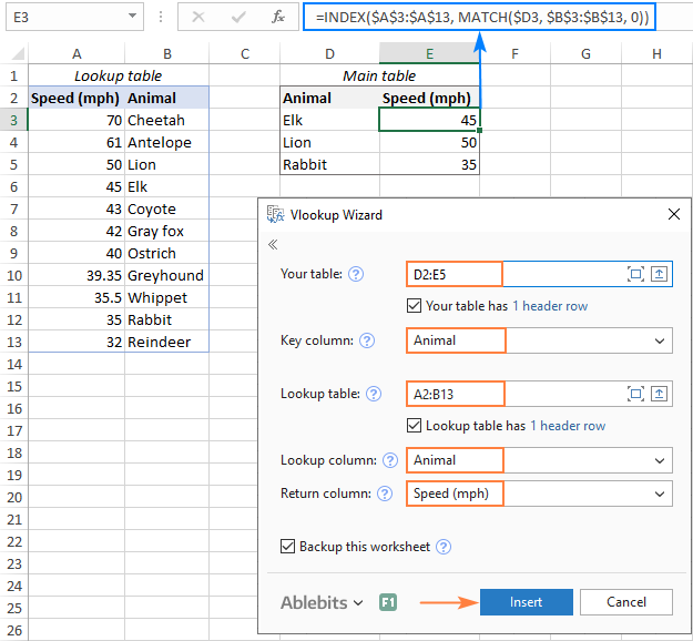 INDEX MATCH formula to Vlookup to the left